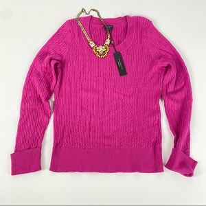 Talbots *NWT* Pink scoop neck cable knit pullover